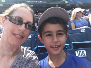Mom and son selfies at the Jays game